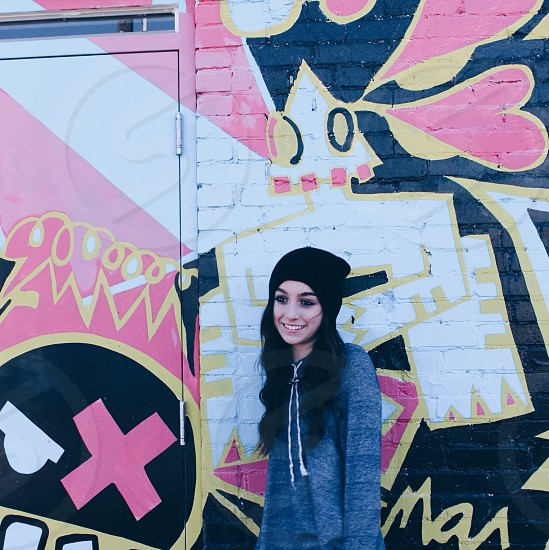 Girl beanie graffiti urban city cool artsy art cute photo