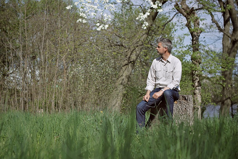 portrait man field spring grass thinking flowers nature tree stump photo