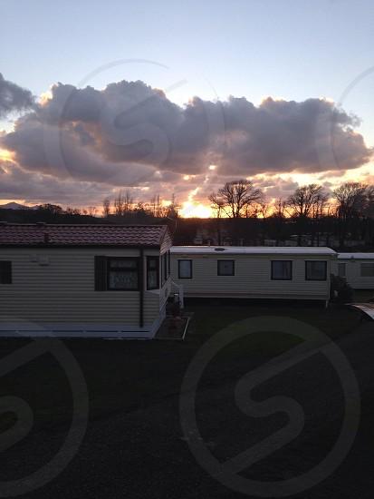 Sunset over static caravans  photo