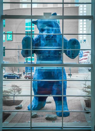 The blue bear sculpture in downtown Denver photo