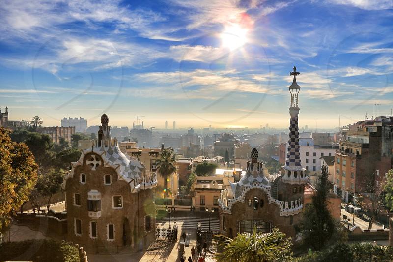 Barcelona  light sunlight  city sky monument  Gaudy park  photo