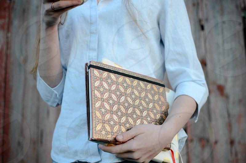 Journal coffee girl hands outdoor photo