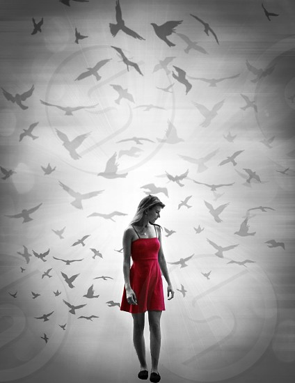Photoshop ominous beautiful mysterious birds clouds photography edit dress girl pretty black and white pop of color photo