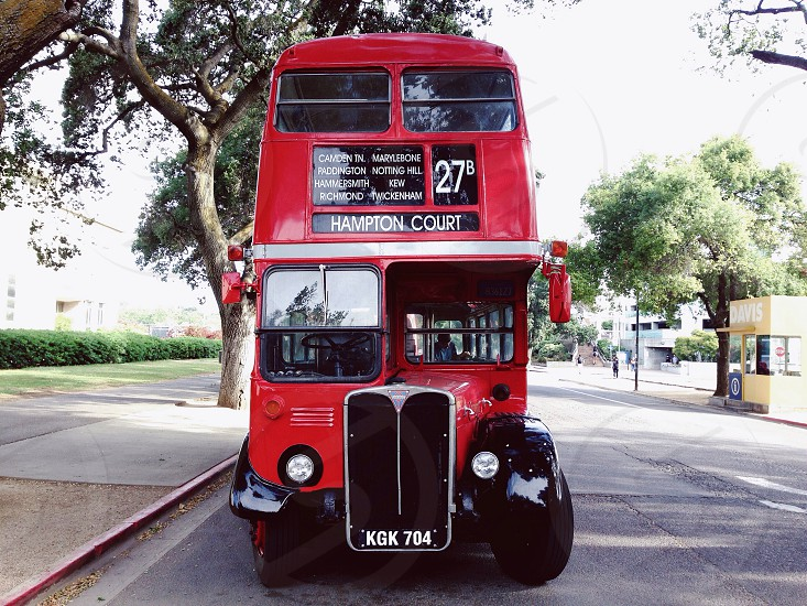 red and black double decker bus photo