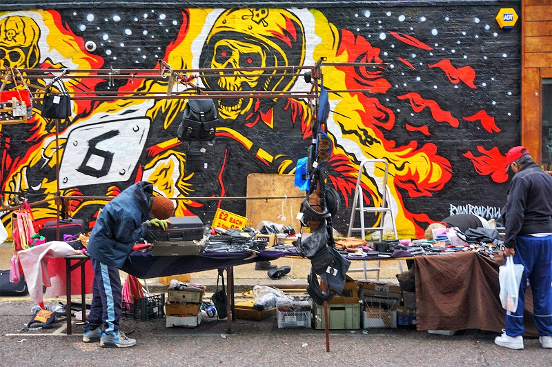 Wall mural market street east London destination travel diverse bright light skull alternative household bric-a-brac hoxton public photo