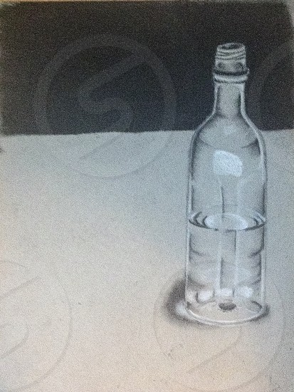 Glass bottle and water study done in charcoal  photo