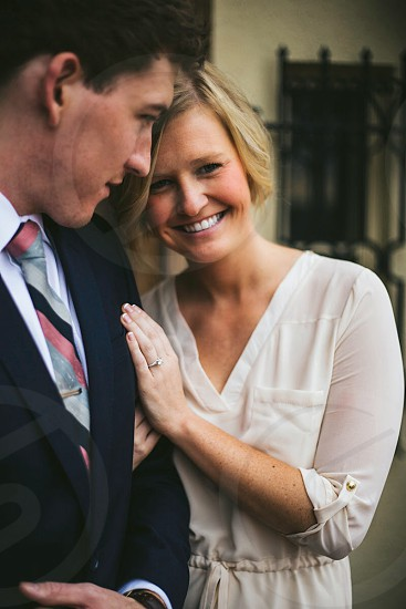 A happily engaged couple.  photo