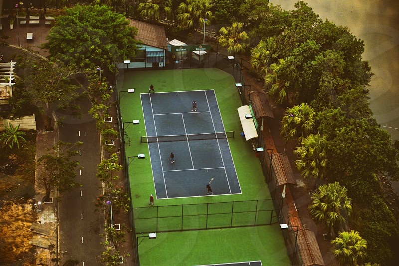 aerial shot of a tennis court. Sport match  playing tennis photo
