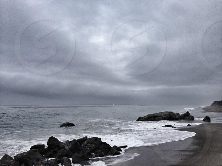 view of rocky beach shore photo
