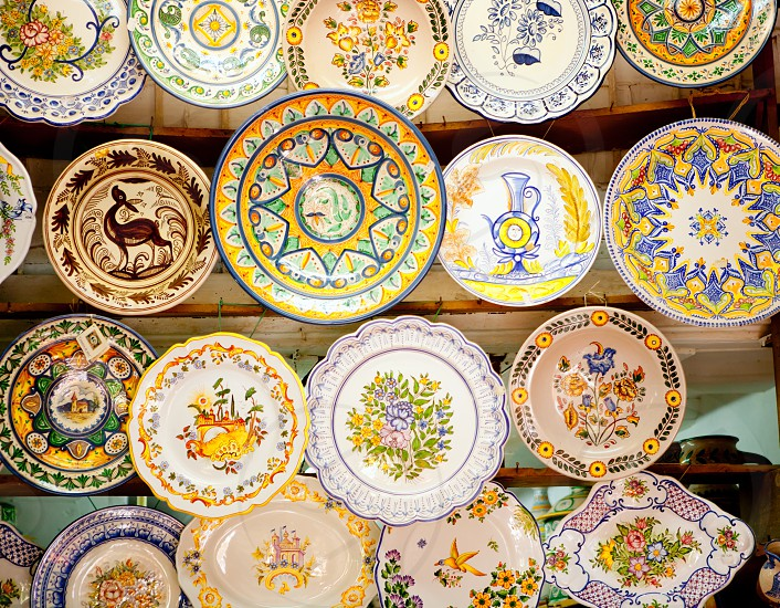 ceramic traditional plates in Valencia clay crafts photo