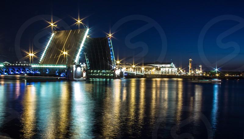 bridge raised for boats to pass photo