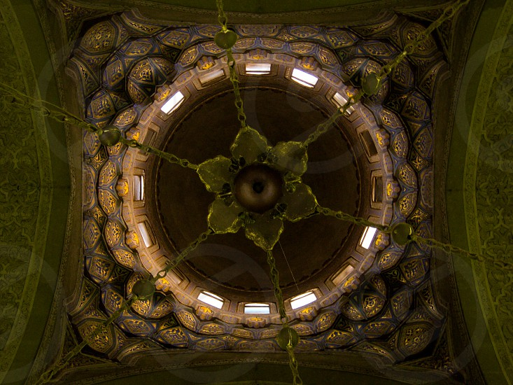 Looking up to AlRefaei mosque dome from inside. Cairo Egypt photo