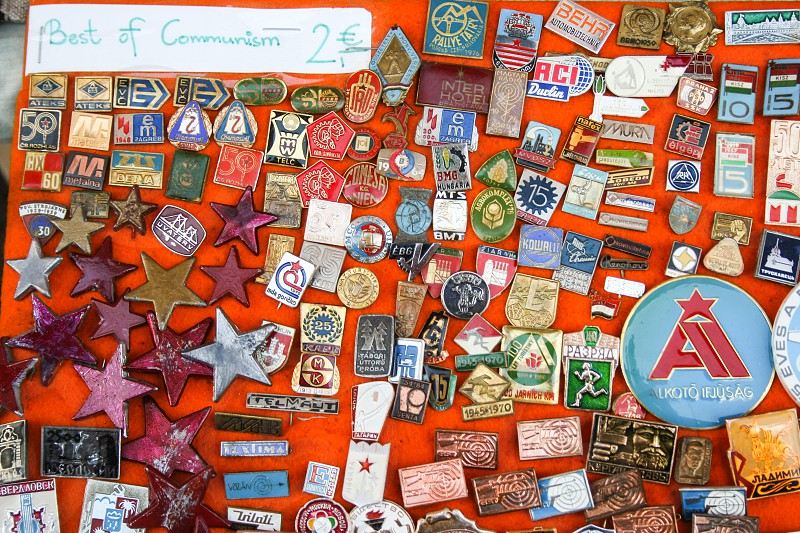 pins with symbol of old DDR in a market stall of Berlin Germany  photo