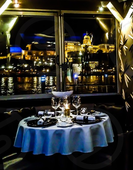 Budapest city restaurant spoon restaurant food Table set Table set Castle spoon table top setting Table setting laying the table laying plate glasses gold Romantic water river river Donau buda pest love lovely window view window view danube river danube Reflection Wall golden Wall lightning  photo