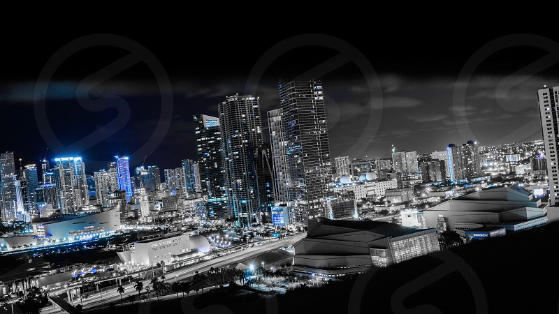Color art large awesome beautiful landscape city street night Miami south beach downtown from above cars long exposure contrast colorful evening sky starts buildings sky scrapers modern classic urban black and white blue cool photo