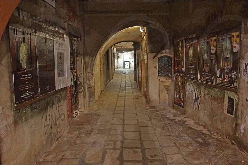 gray walled hallway interior photo