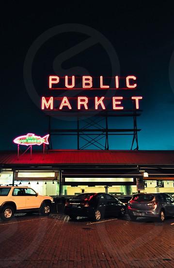 public market signage lights on photo