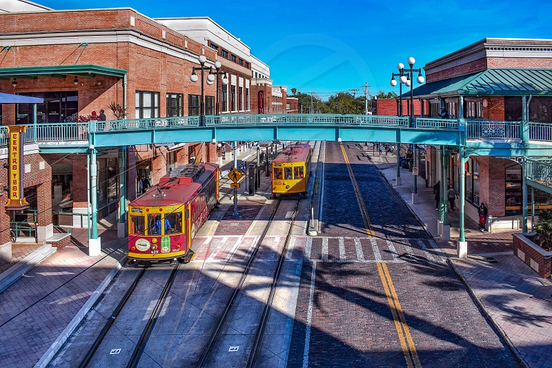 Ybor City Tampa Bay Florida. January 19  2019  Centro Ybor Complex and colorful streetcar.  Ybor City  is a historic neighborhood in Tampa.  (4) photo