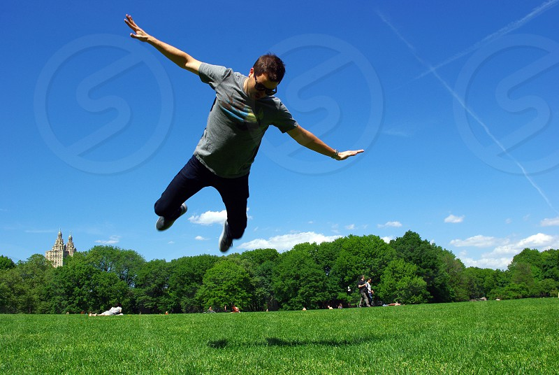Jump! Central Park. Summer.  photo