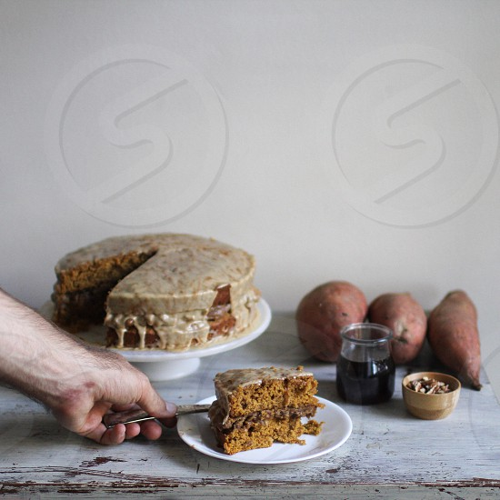 Sweet potato cake baked bakery fall autumn spiced hygge warmth  photo