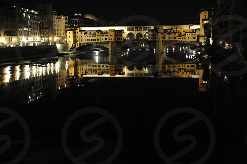 Florenece Italy Ponte Vecchio at Night photo