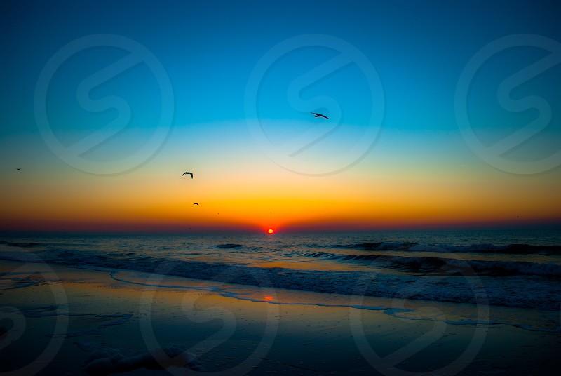 sunset view at beach photo