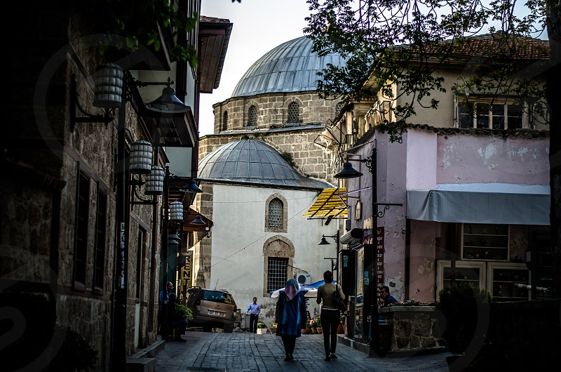 Alley view of a mosque in central Antalya Turkey. photo
