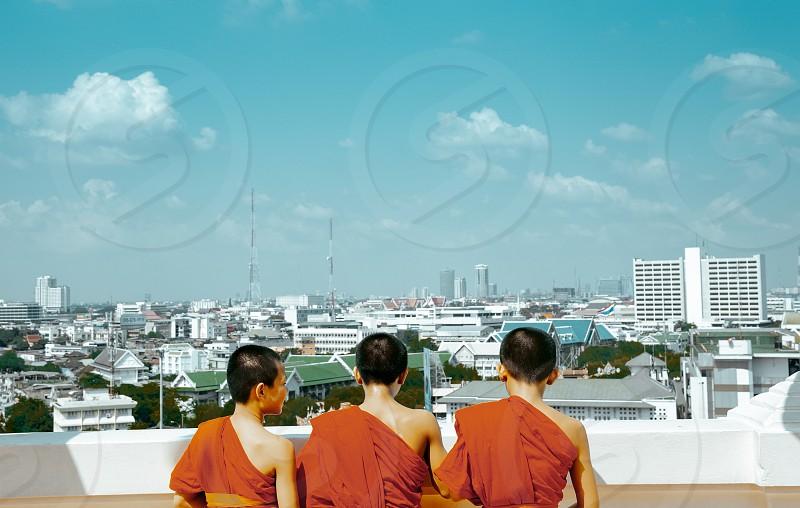 Three neophytes at viewpoint of Bangkok photo
