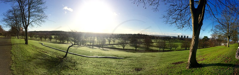 Landscape picture at the top of Bellahouston Park Glasgow photo