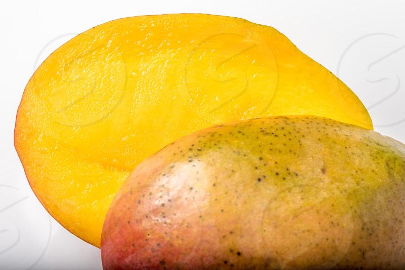Macro shot of a sliced mango. photo