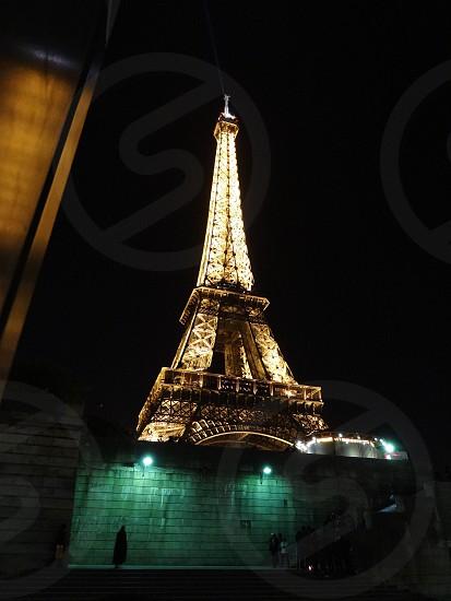 paris France Eiffel Tower Night photo