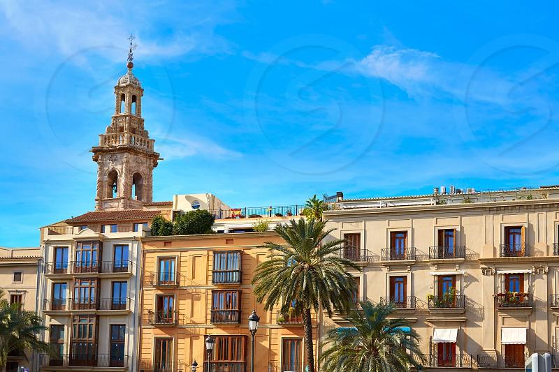 Valencia Plaza de la Reina square and Santa Catalina Church tower at Spain photo