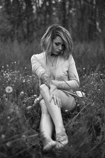 Boudoir tattoos piercings fields nature beauty sexual black and white  photo