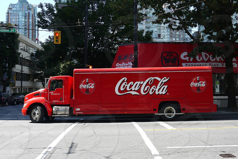 red coca cola truck photo