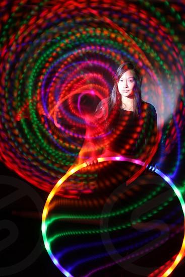 Glowing Hula hoop with a flash  photo