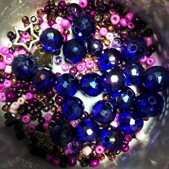 Beads colourful bright jewellery making craft art blue purple  photo