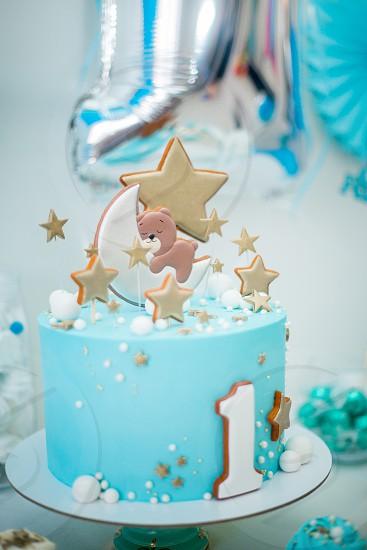 Marshmallows candle pastille blue birthday happy milkshake white bear stars cooking baby celebrations  one boy desert candy bar  photo