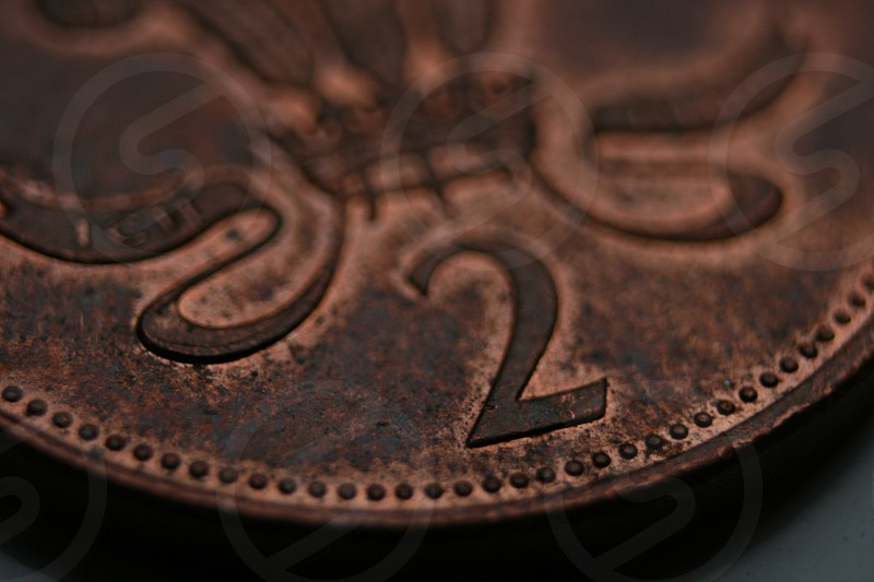 macro/close up of a British two pence coin photo