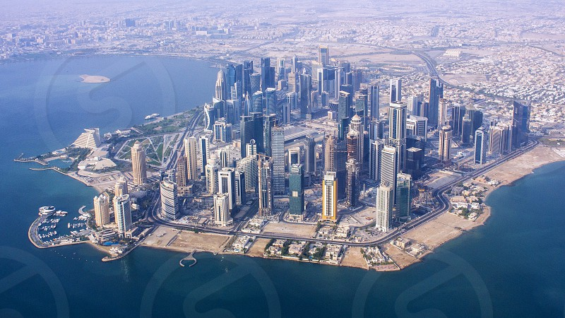 aerial view of Doha the capital city of Qatar photo