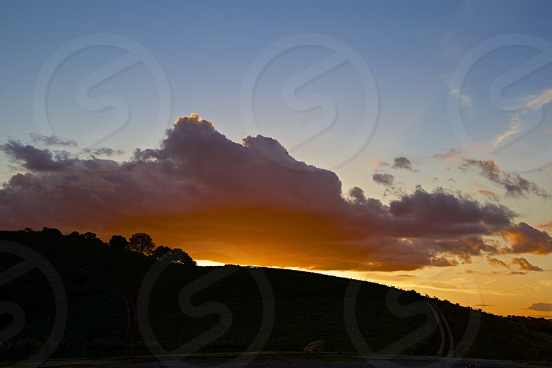 Absolutely gorgeous view of a sunset at a winery in Paso Robles CA photo
