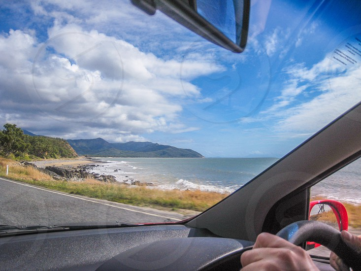Driving along the coast north of Cairns Australia. photo