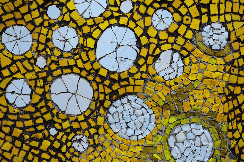 white and yellow mosaic tiles photo