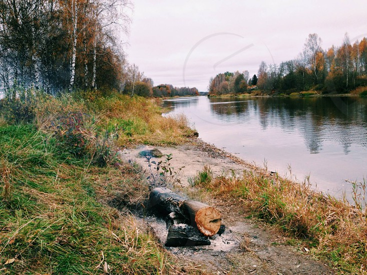 Fire by the river. TartuEstonia - October  2014 photo