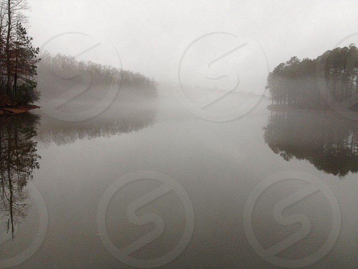 Fog over lake near Peachtree City GA photo