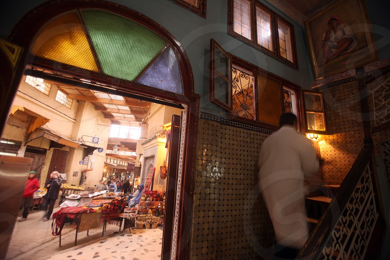 A Tea and Cafe House in the old City in the historical Town of Fes in Morocco in north Africa. photo