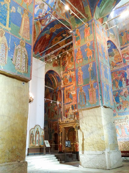 Frescoes inside the Transfiguration Cathedral  of the Saviour Monastery of St. Euthymius Russia Suzdal photo