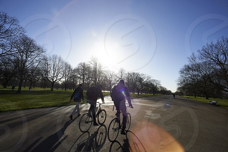 A group of cyclists cycling past in Hyde Park in the city of London in sunshine photo