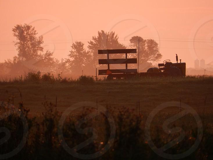 Bale wagon sunrise photo