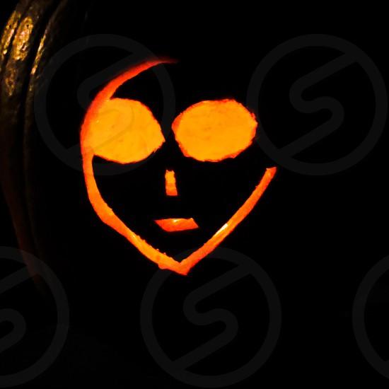 Pumpkin Halloween jack-a-lantern fire alien carved spooky  photo
