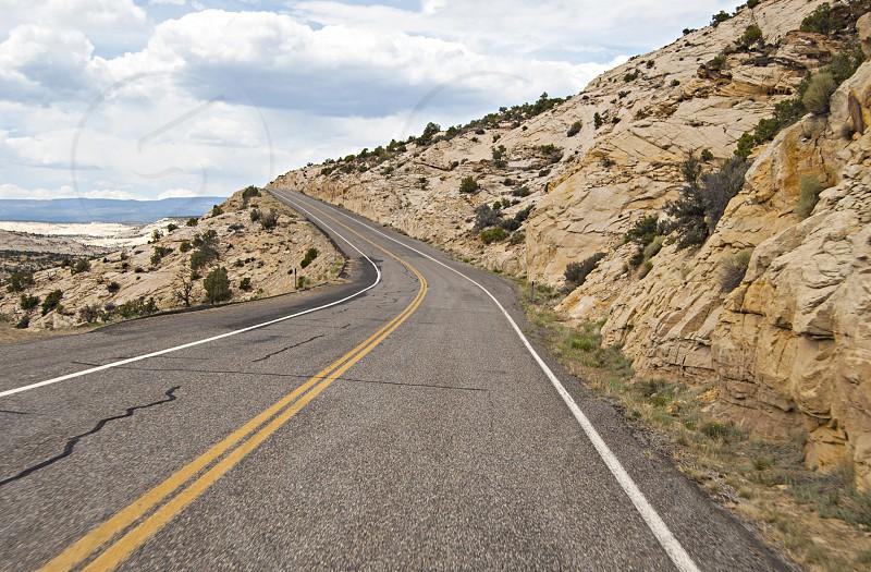 Road through rocky terrain photo